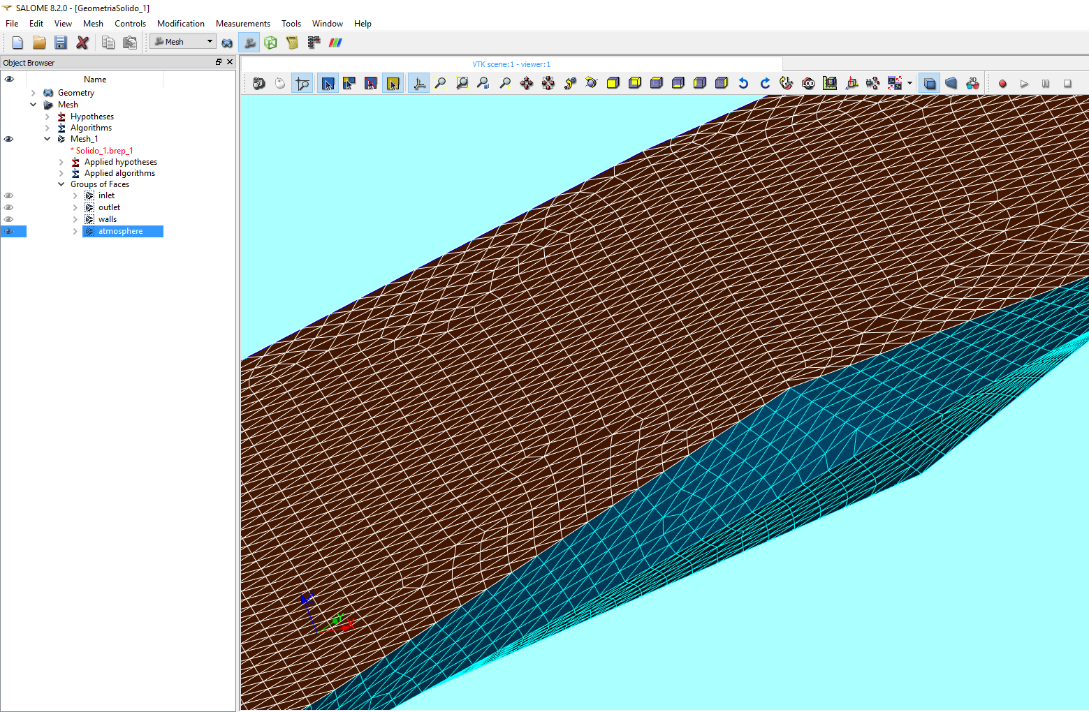 Trabajo de procesamento de geometrías y grillado en Salome Platform