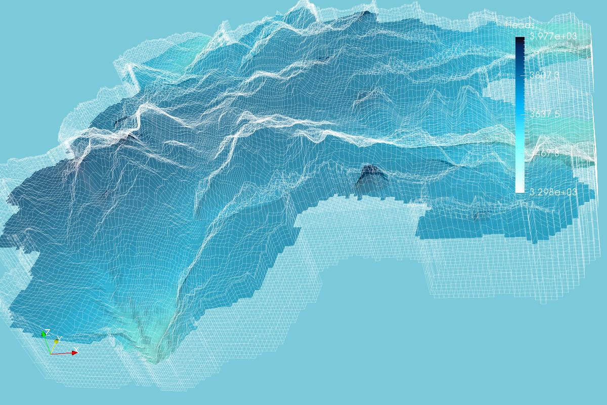 Vista Isométrica de la Napa Freática