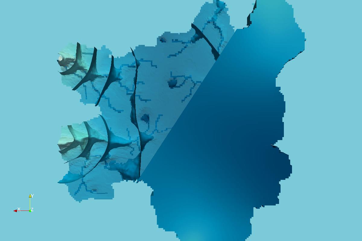 Vista de Fondo de las Cargas Hidráulicas en Celdas y Superficies Equipotenciales