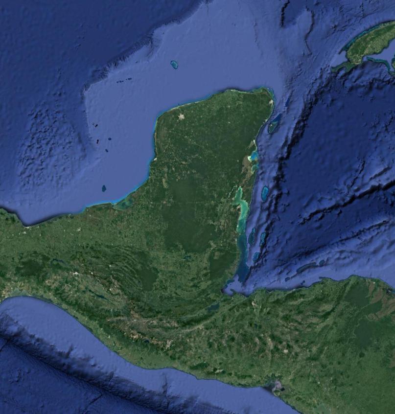 Vista área de la Península de Yucatán