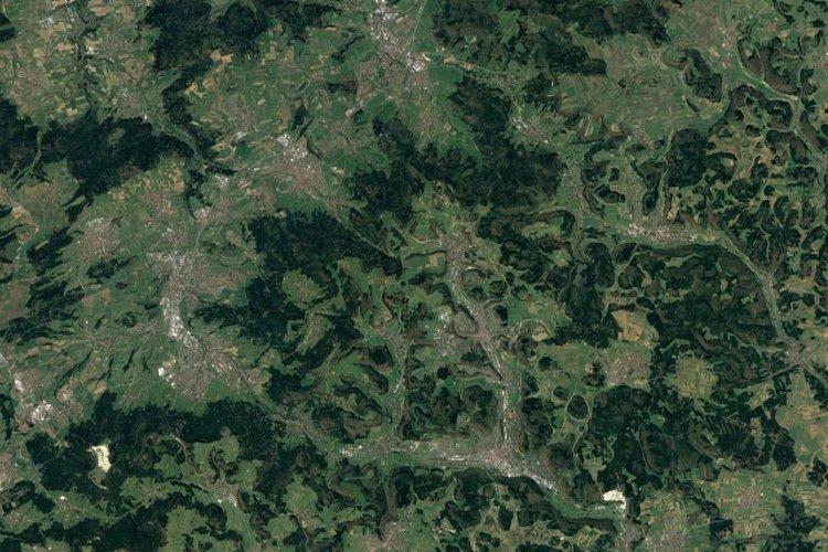 Vista aérea de Albstadt, Jura de Suabia, Alemania