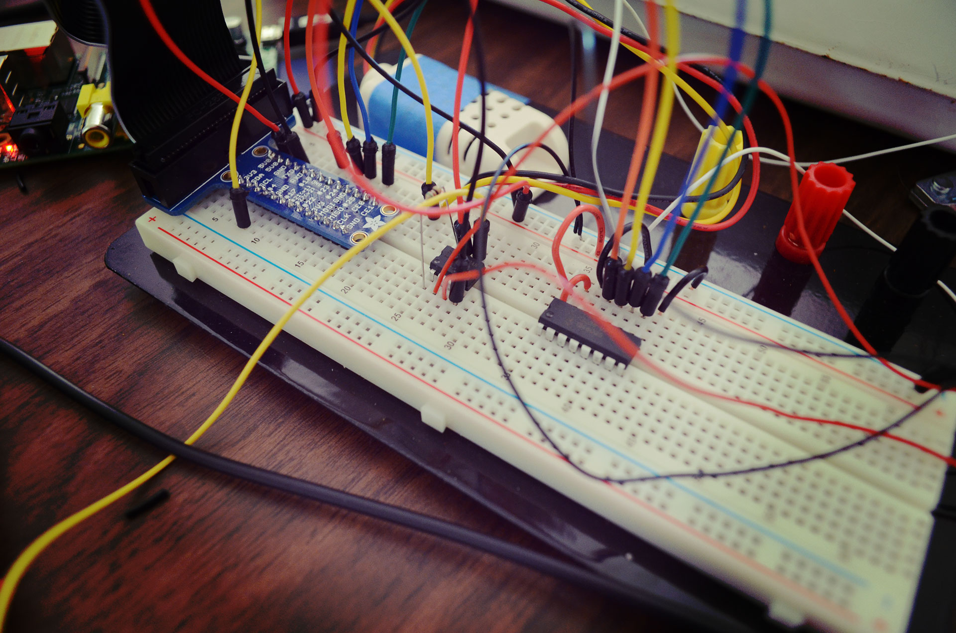 Now the circuit has the A/D converter integrated... need to take output from this back into Pi