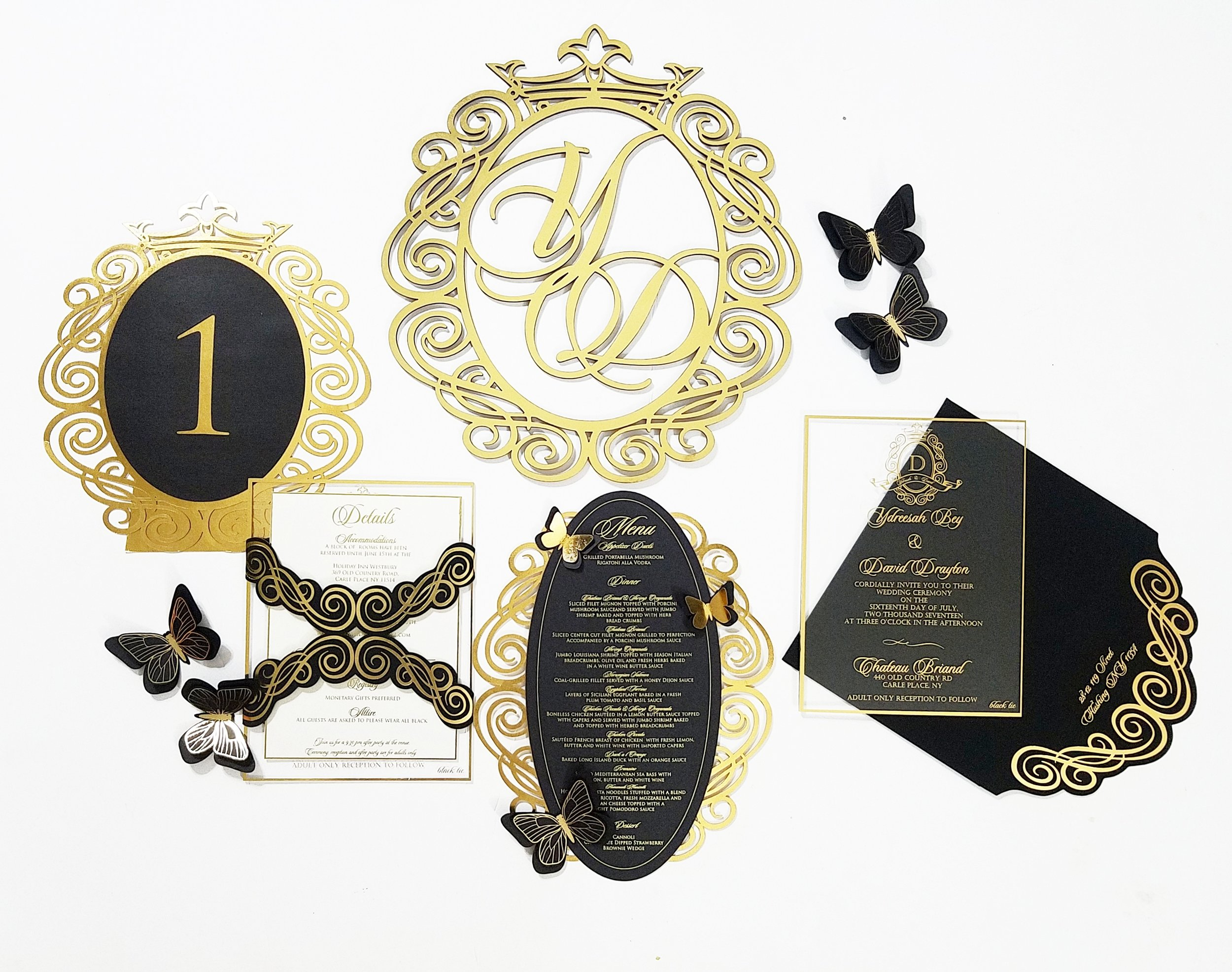 Black and Gold  butterfly inspired suite