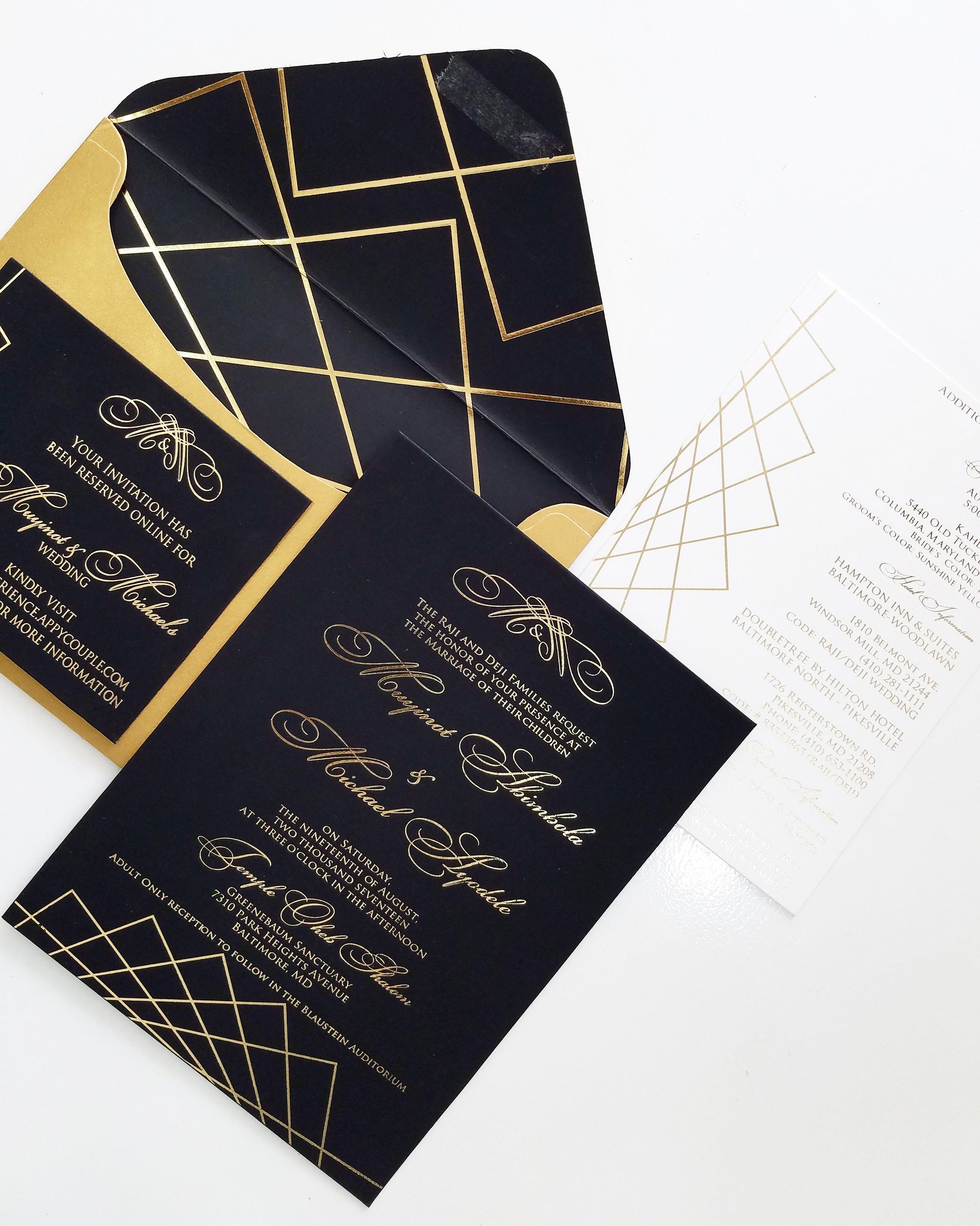 black and gold geometric wedding invitation