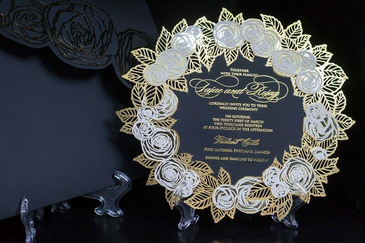 Black wedding invitation