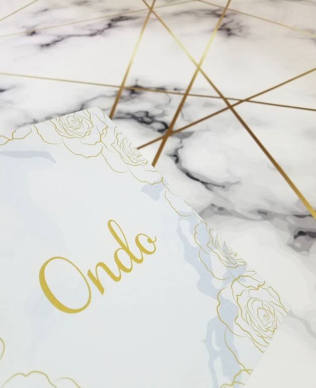 Marble Inspired Table Name, With Foiled Roses