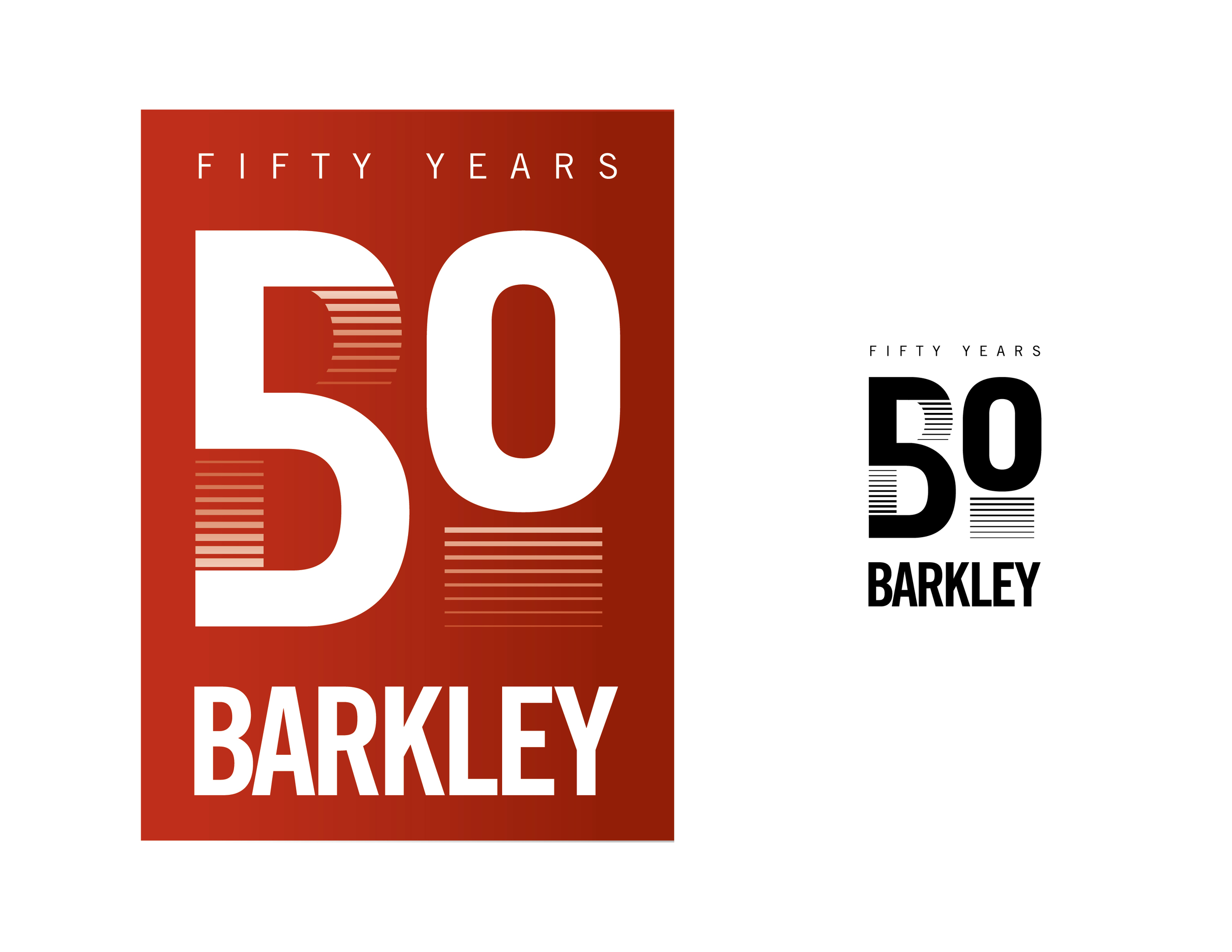 "Using the Barkley ""B"" to create a moving ""50"", headed toward the future."