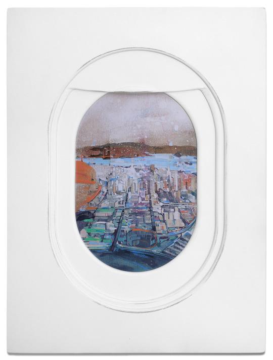 Airplane window drawings by Jim Darling