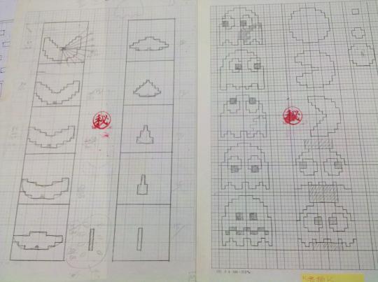 Toru Iwatani shows his original drafts for Pac-Man