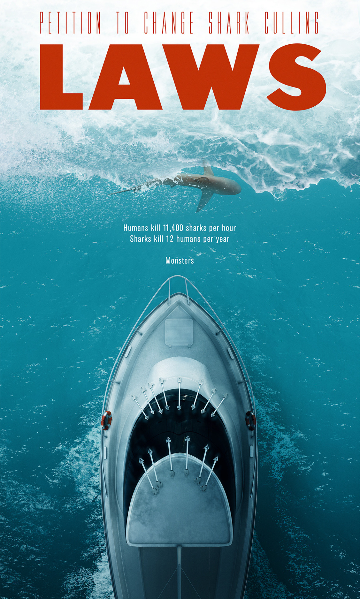 """Shark Culling """"Laws"""" Poster"""