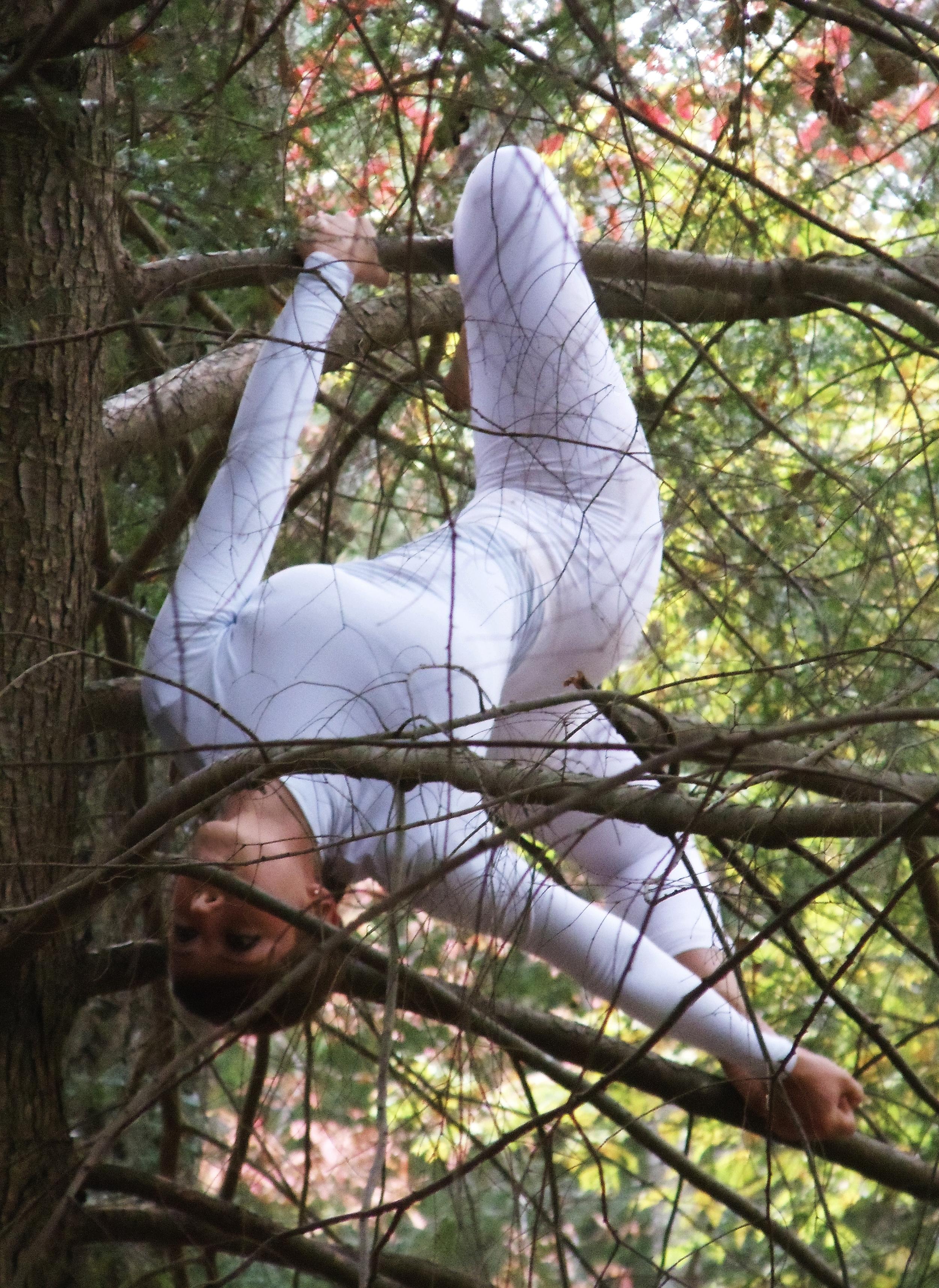 Dancer Jen Keehn in Aerial Outdoor Performance
