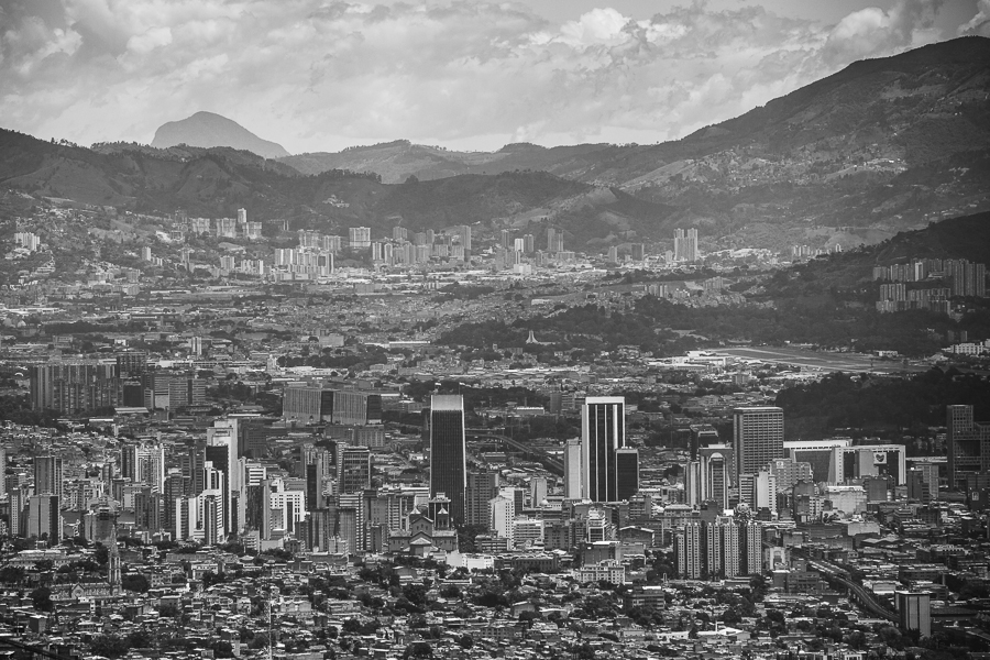 Downtown Medellin seen from Biblioteca España, at the Comunas.