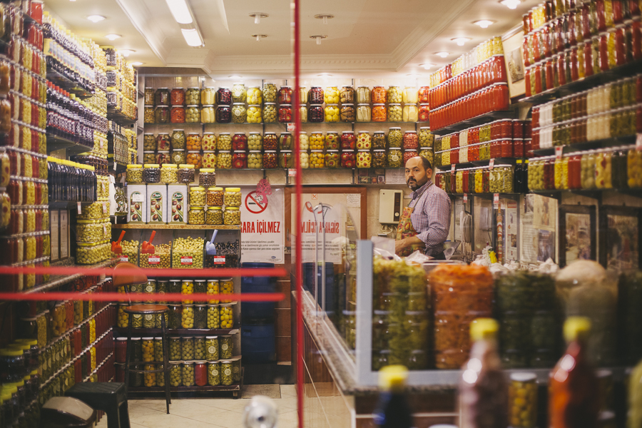 Pickled stuff galore, seen at the Istanbul streets.