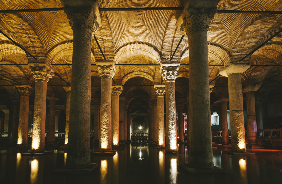 Basilica Cistern, Istanbul, Turkey. Built in the 6th century by the Byzantine Empire.