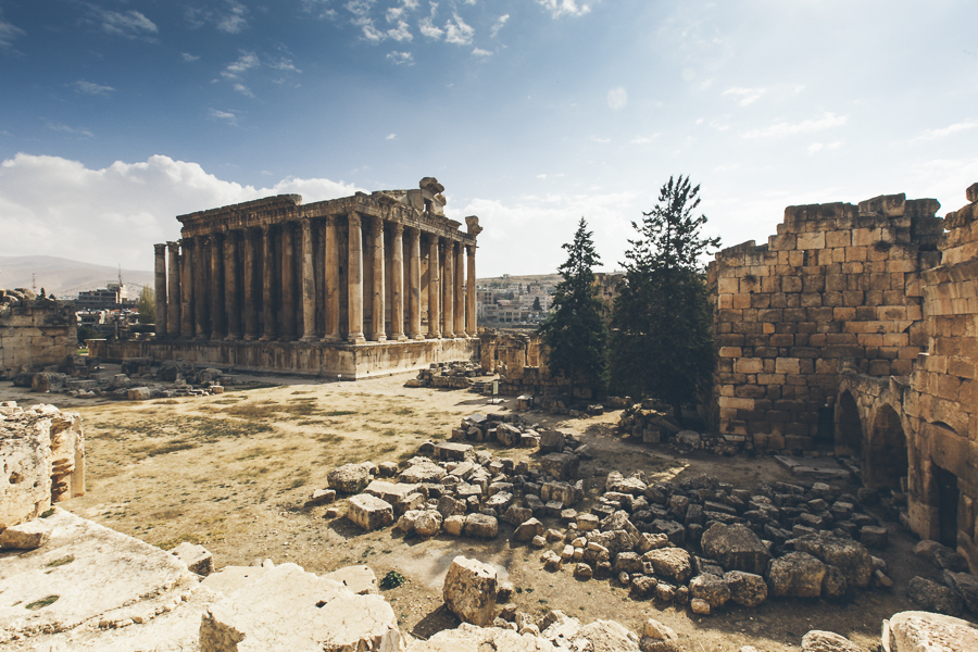 Beautiful Baalbek, Lebanon. Located in Lebanon's Beqaa Valley, northeast of Beirut.  It still possesses some of the best-preserved Roman ruins in Lebanon, including one of the largest temples of the empire. The gods that were worshipped there (Jupiter, Venus, and Bacchus) were equivalents of the Canaanite deities Hadad, Atargatis. Local influences are seen in the planning and layout of the temples, as they vary from the classic Roman design.