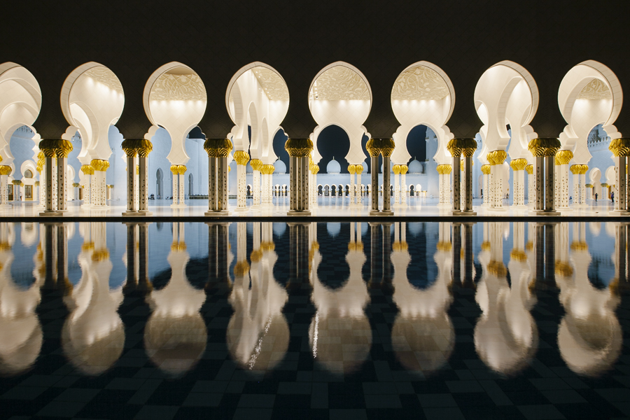 The Sheikh Zayed Grand Mosque, Abu Dhabi, UAE. The largest in the country, absolutely stunning.