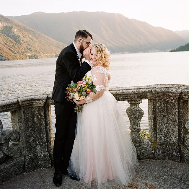 Ever dream of eloping to Lake Como, Italy? Our client/bride Stacey and her new hubby Shane did just that. Check out @confettidaydreams to read all about their experience and how to plan an elopement abroad. Congratulations @louyecats and Shane💍❤️ Stacey's gown was made in-house, via fit-checks by mail. We met over FaceTime to discuss the fit and design edits. No matter the distance we still love to see our clients face to face ✂️😀Thank you Stacey 💕