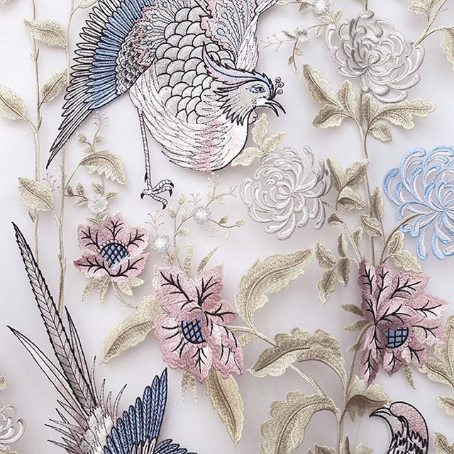 Love this charming embroidery by @bella.tela This fabric would make a great dress for an engagement party  OR an enchanting bridal shower look. ✂️