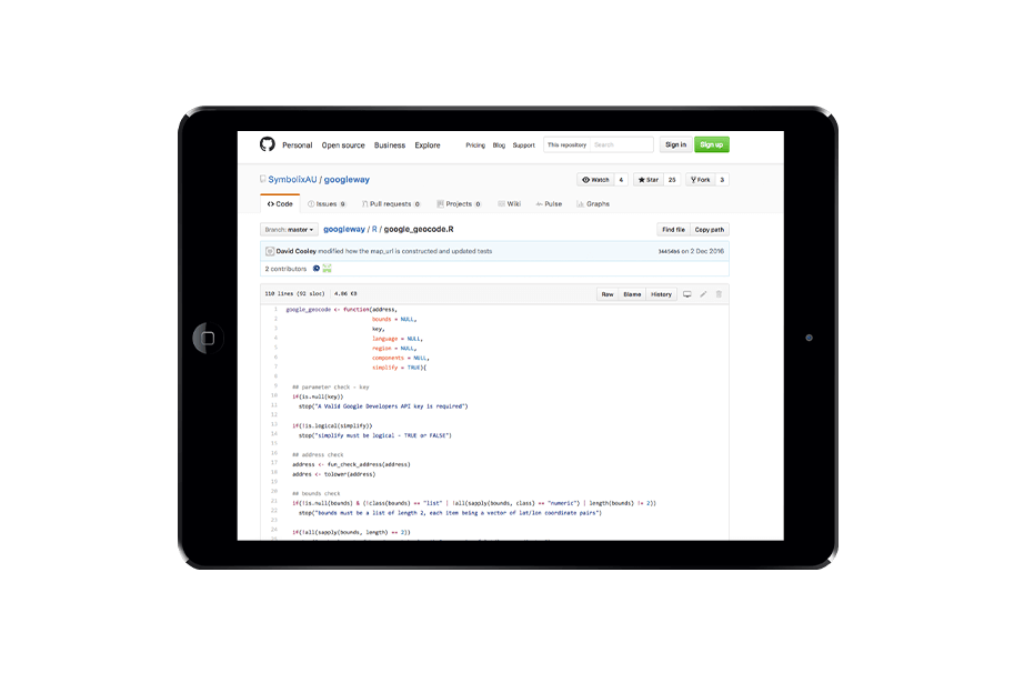 Support for analytics teams - Example of code help we've provided on Github.