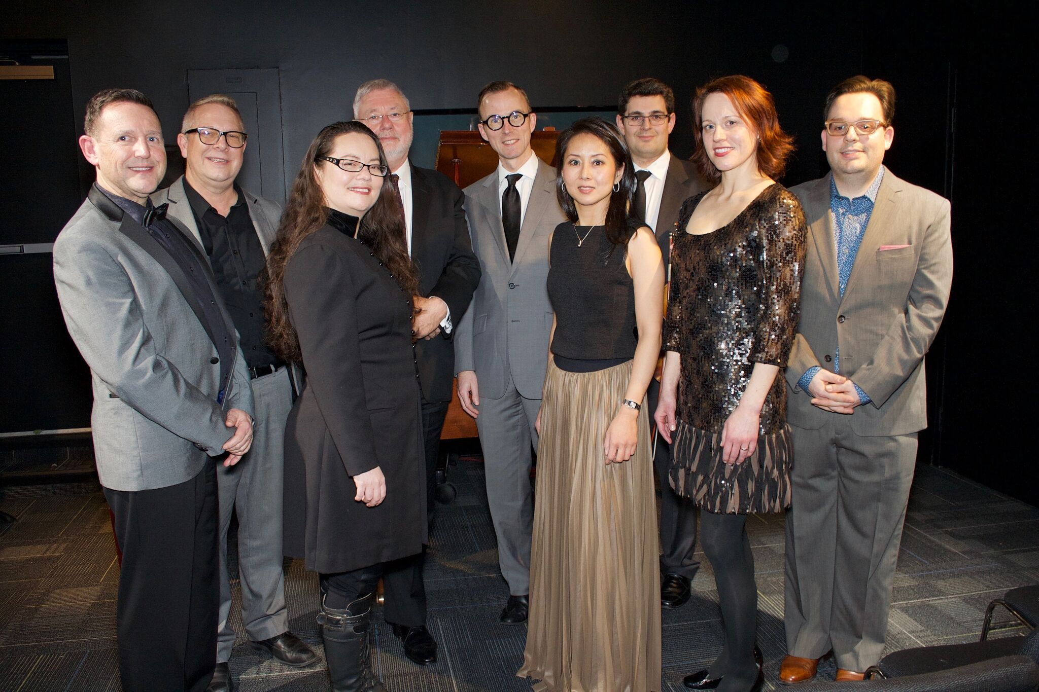 Terence Dawson, piano; Sean Bickerton, CMC BC Director; Rachel Iwaasa, piano; David Duke; Joseph Elworthy, cello; Amanda Chan, piano; Nicholas Wright, violin; Robyn Driedger-Klassen, soprano; Stefan Hintersteininger, CMC BC Librarian  Photo: Tom Hudock
