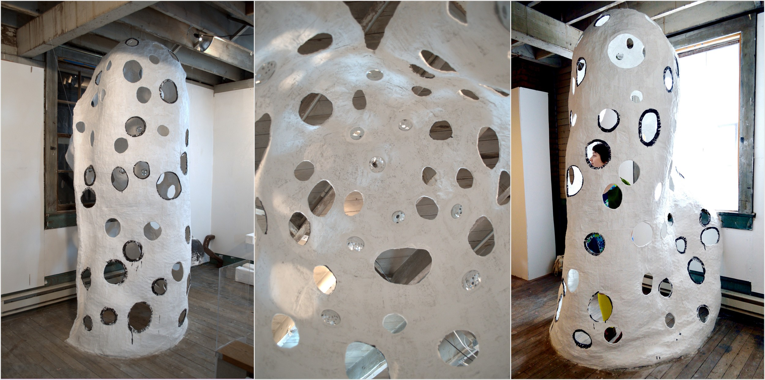 Permeable Paraboloid (i like to see infinity), 2013.  left exterior; interior dome ceiling; right exterior. plaster, wire, convex mirrors, gauze, paint.