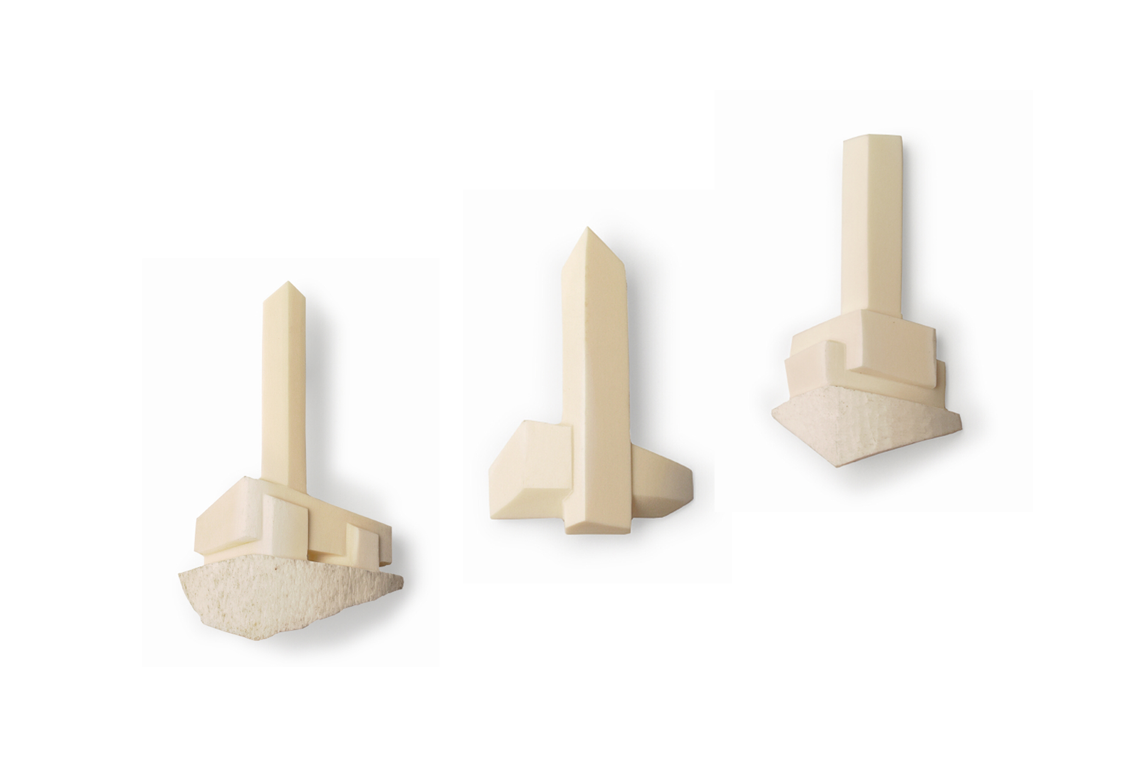 Walter and Marion Burley Griffin Brooches  Brooch set:   Urban Fabric Project    Bone, Monel, Stainless steel