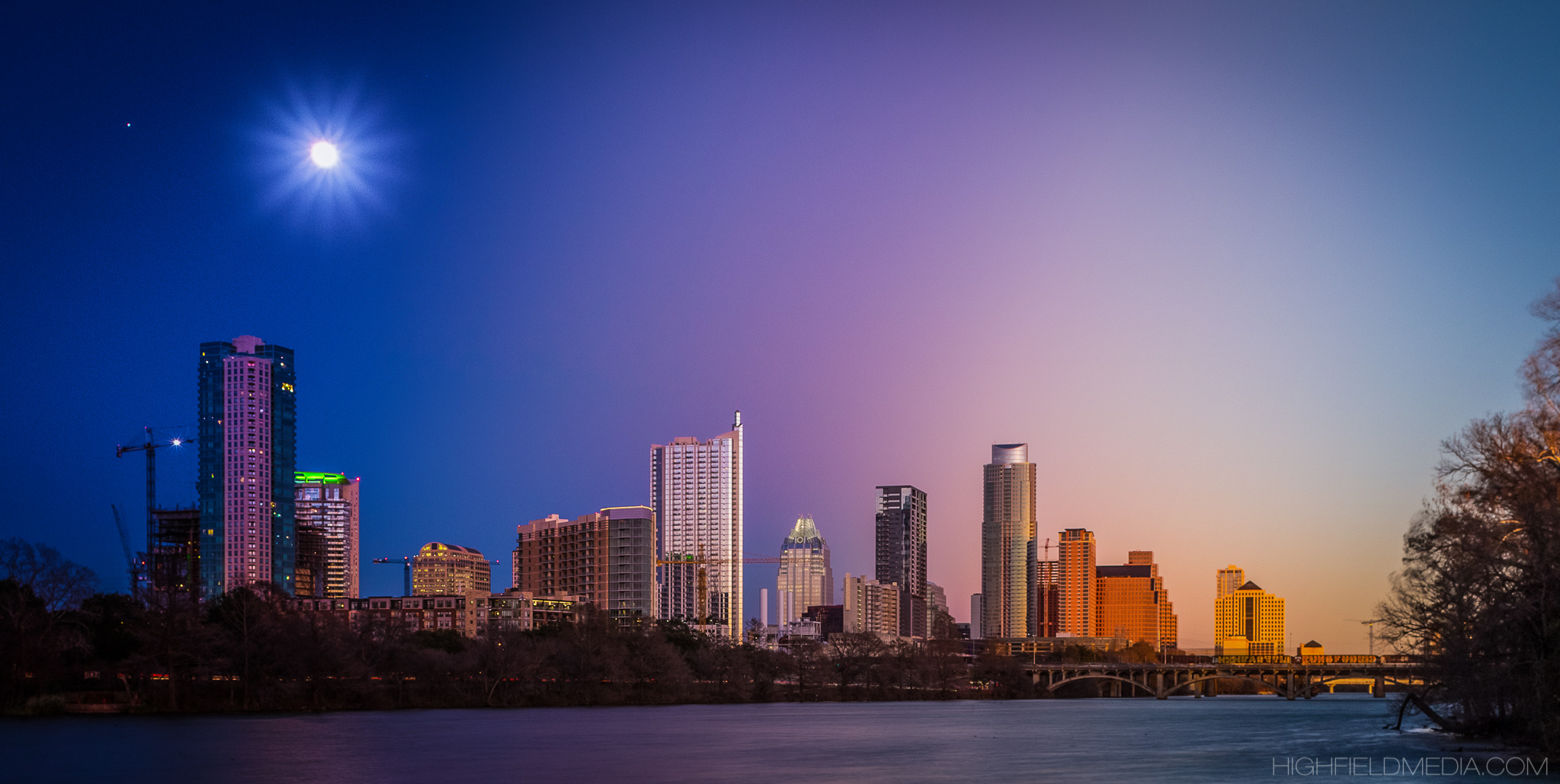 A composite image of the Austin skyline across 10 exposures in 2 hours.