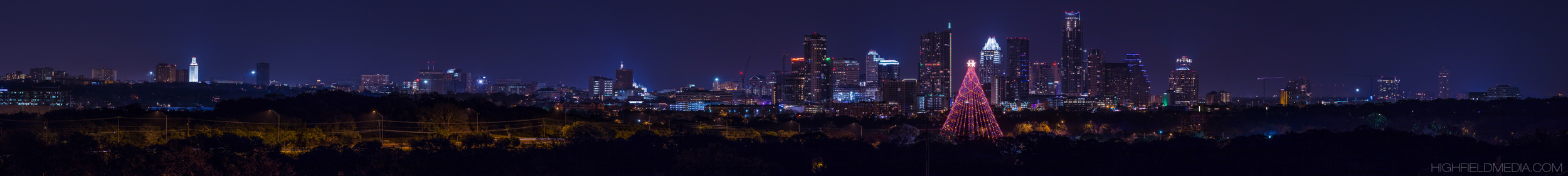 The skyline of central Austin frames the Great Tree at Zilker Park viewed from the south.