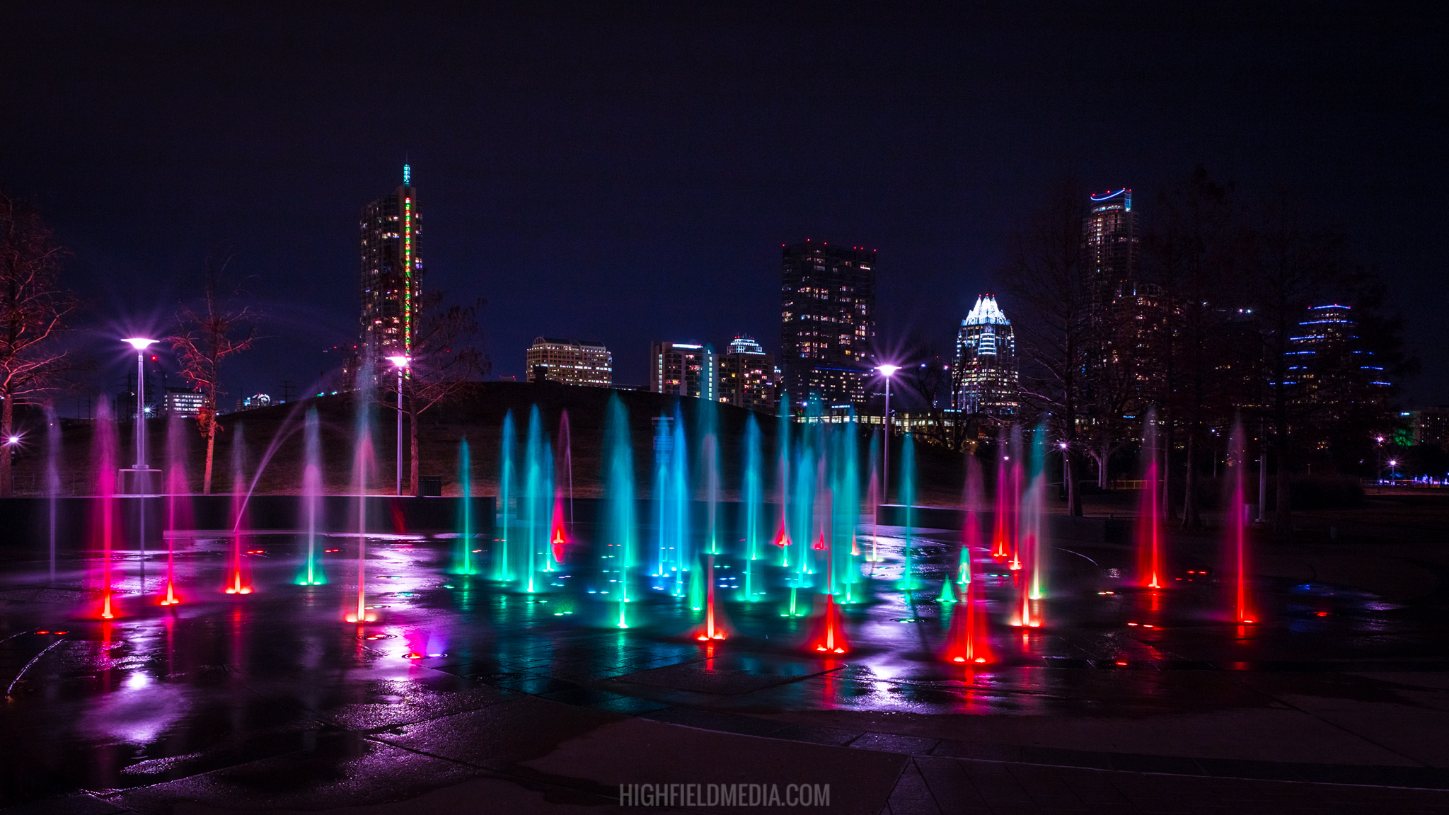 The Liz Carpenter Fountain in Butler Park, Austin, TX.