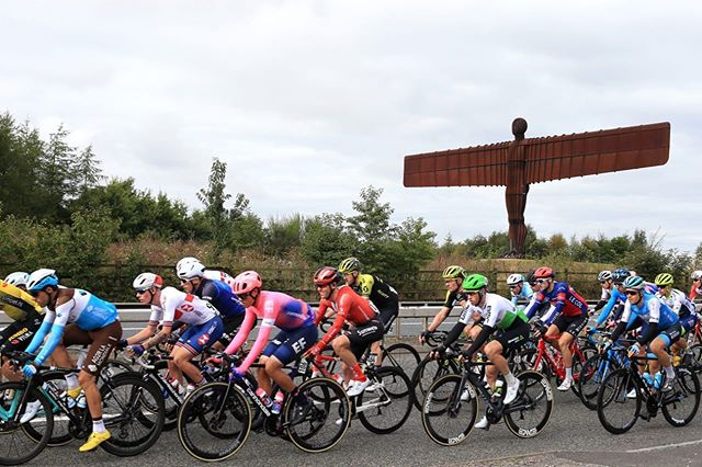Racing past the Angel of the North Sculpture here in @thetourofbritain ✋ @teamdidata @qhubeka