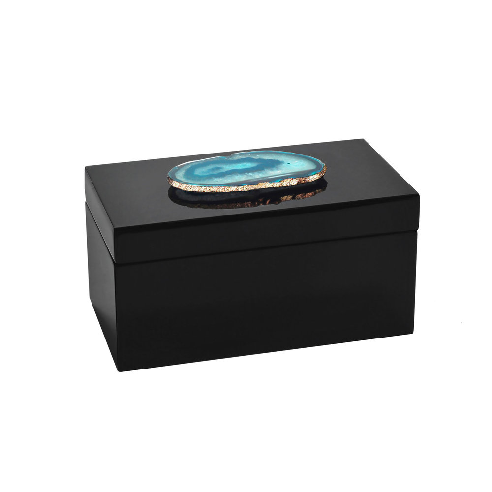 Large Black Teal Agate Lacquered Box Sara Reynolds Jewelry
