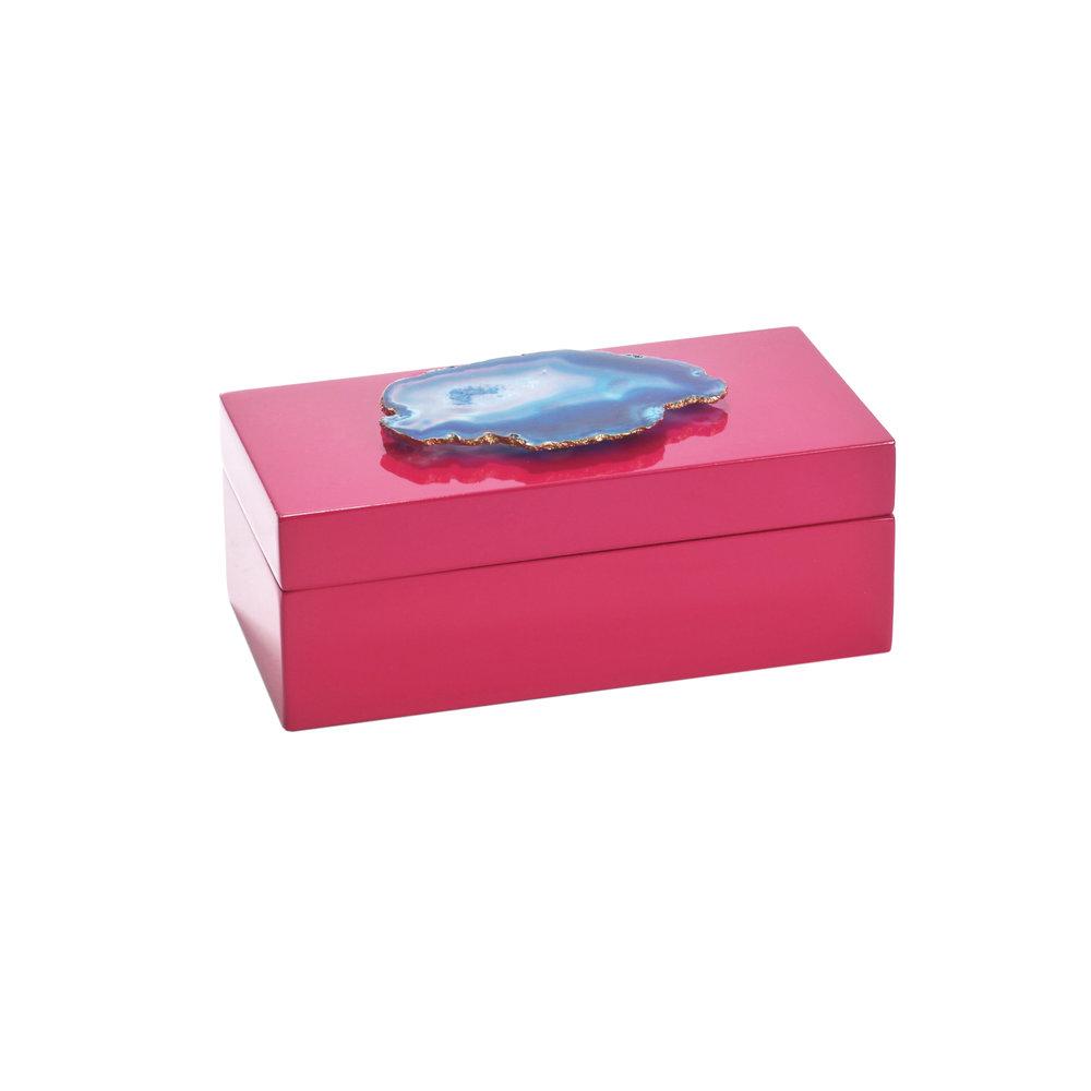 Medium Fuchsia Blue Agate Lacquered Box Sara Reynolds Jewelry