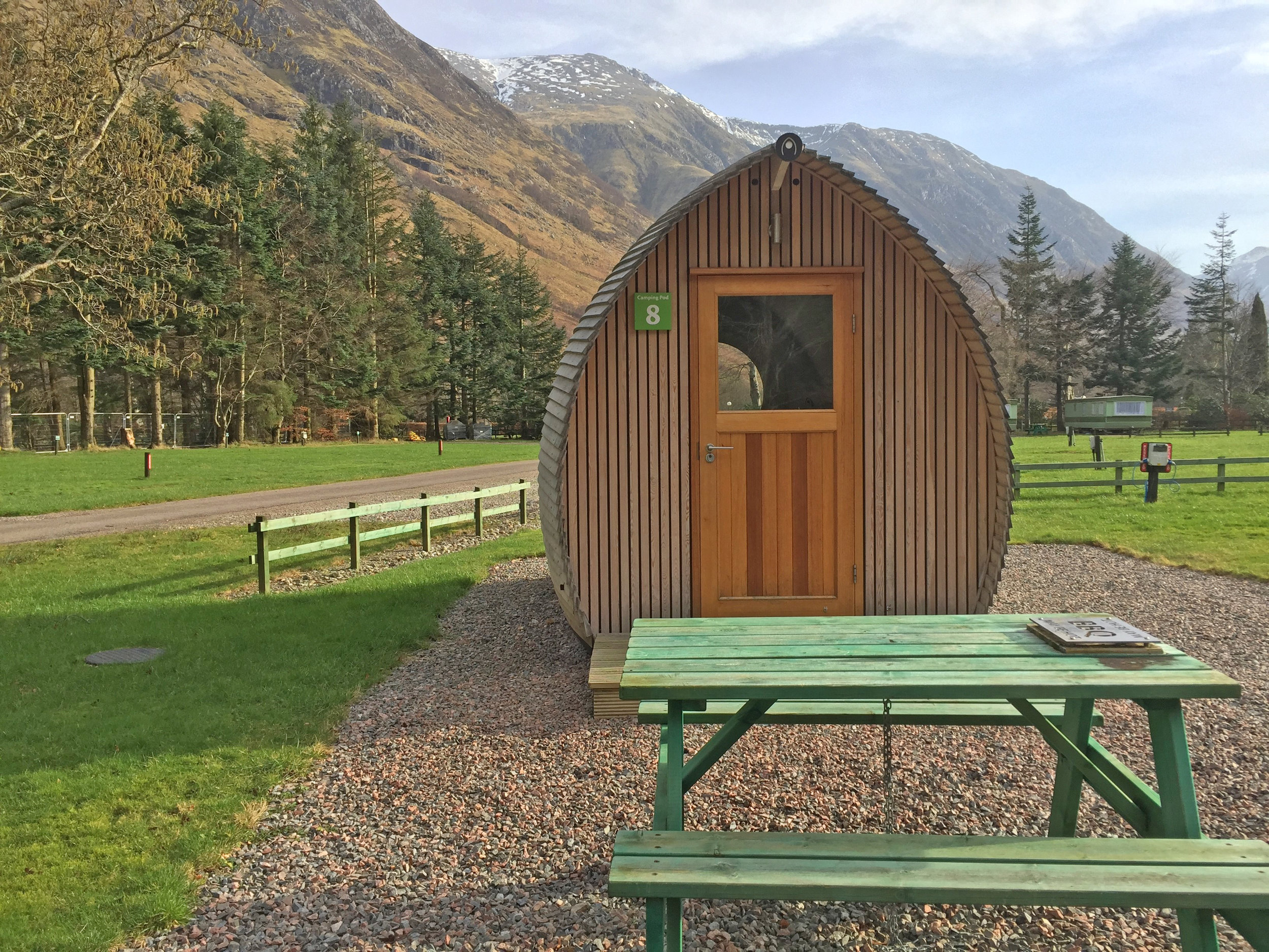3 berth Pod Exterior with Ben Nevis in the background