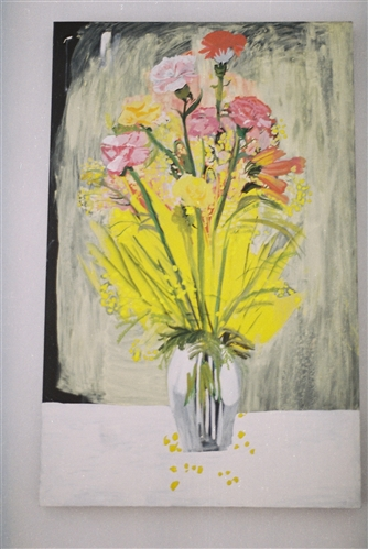 When in Berlin spring Flowers   Oil on Canvas  130 x 75 cms  2013