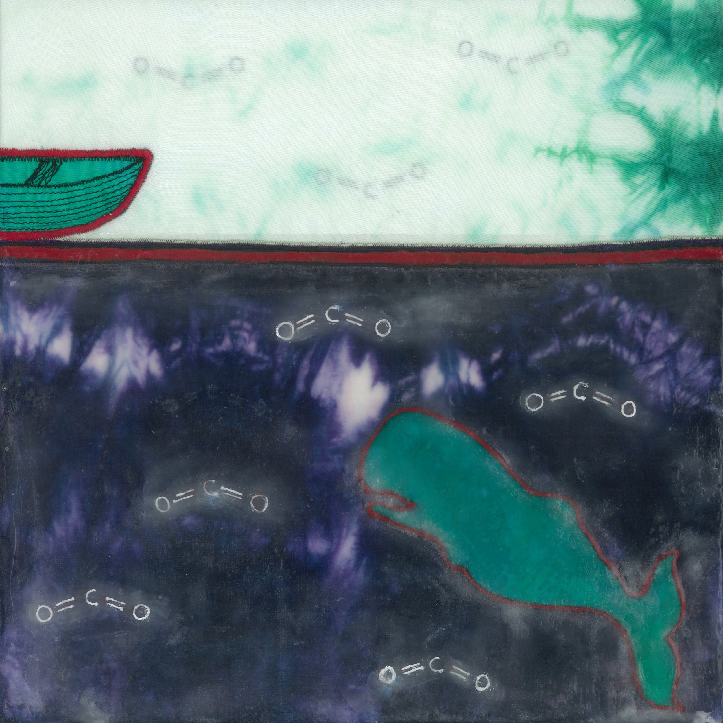 Atmospheric jolt (c) 2014. Diane reardon. $180. (Sperm whale orients to rowboat in water with co2 levels)