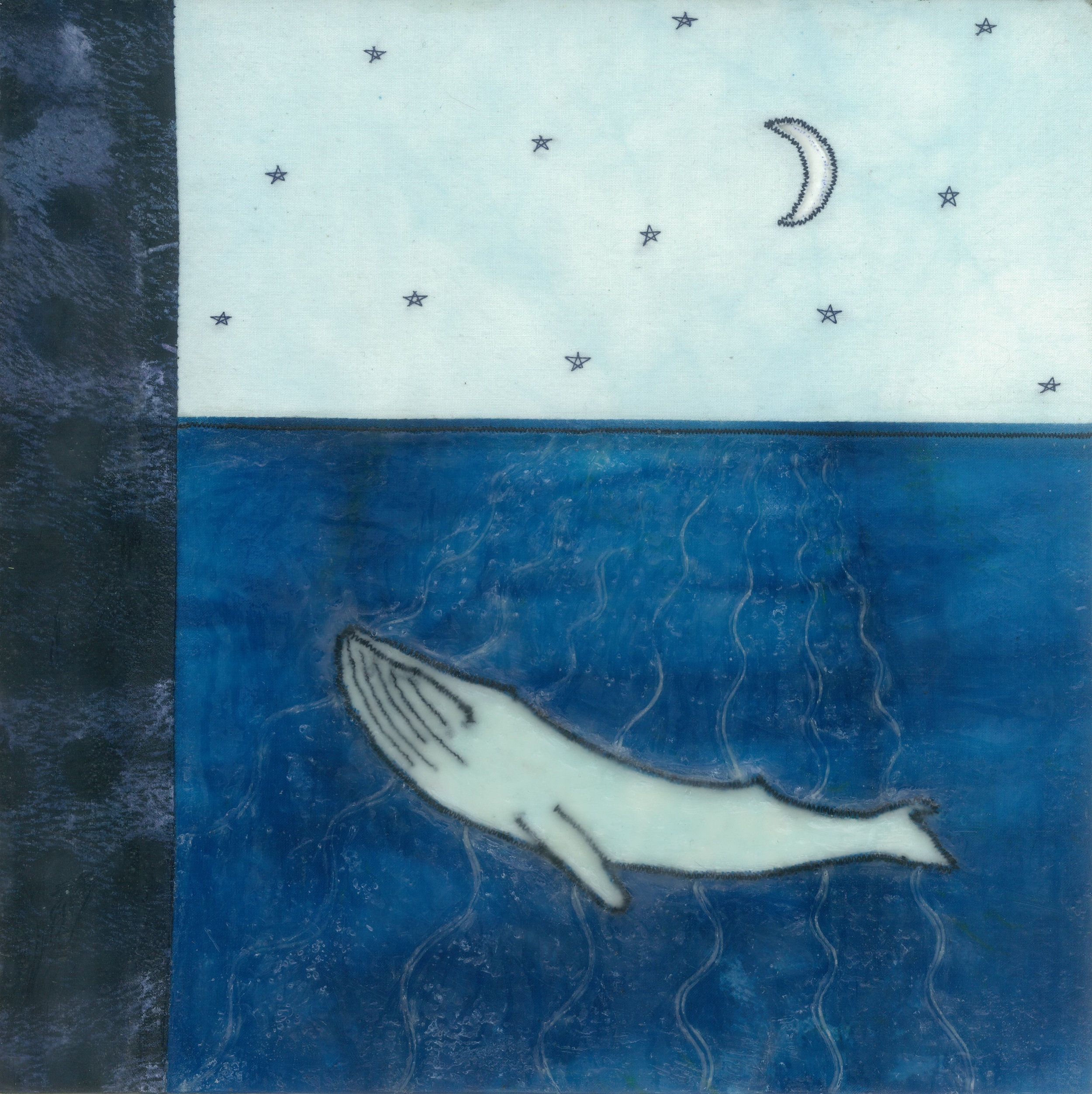 "filtered beams (c) 2015. diane reardon. 10""X10"". $180. (Gray whale under waxing moon)"