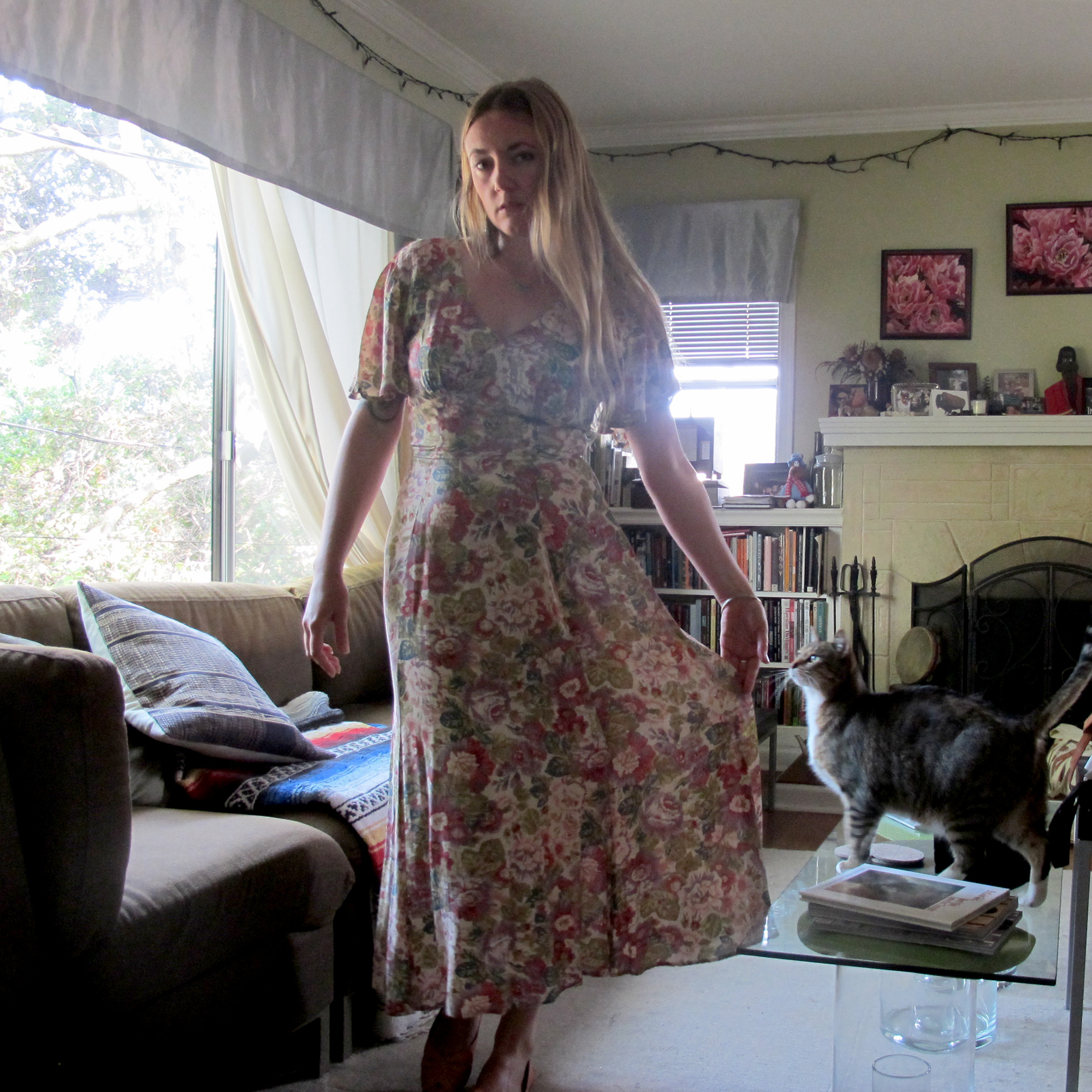 (I love how Otis jumped up on the coffee table right when the timer on the camera went off.)