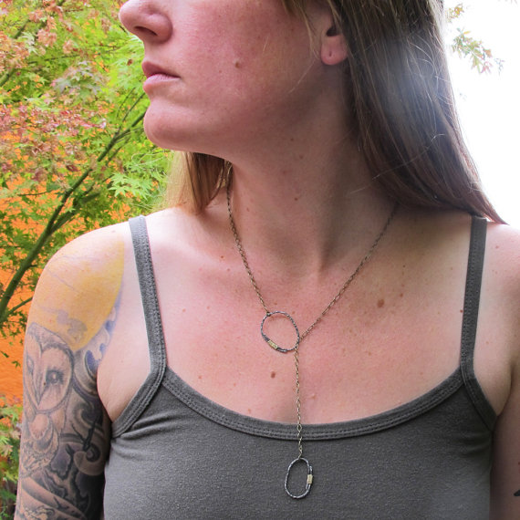 River Rock Steel and Brass Lariat Necklace on Model