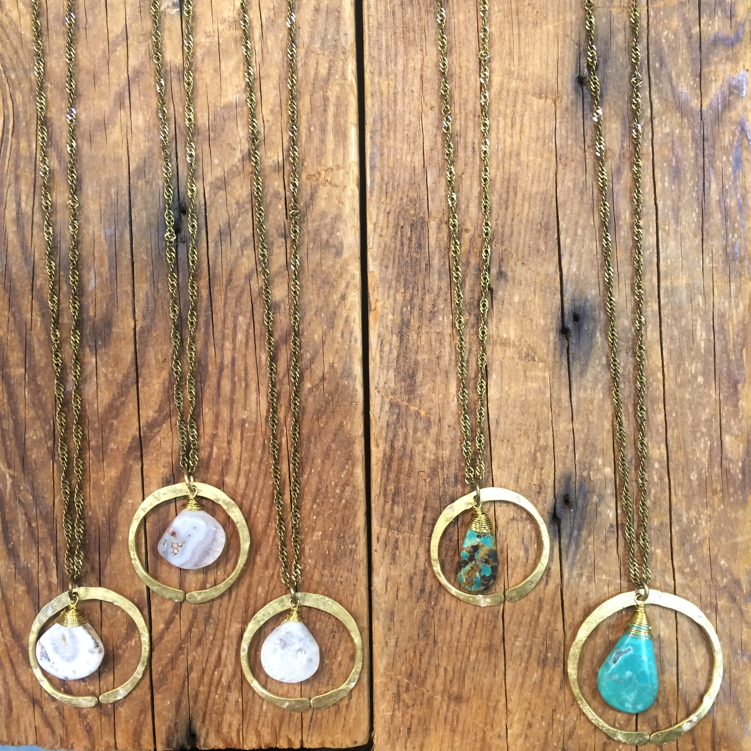 Turquoise and Moss Agate Redwoods Necklaces