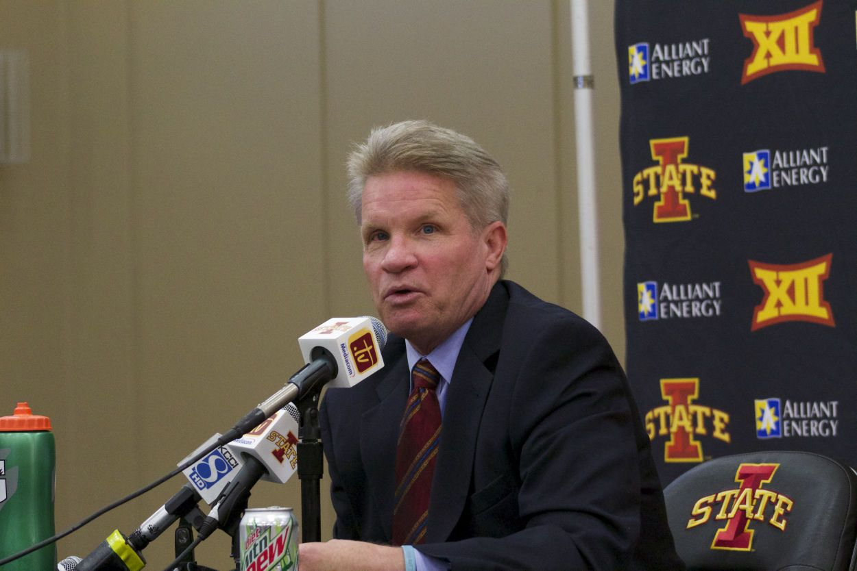ISU coach Bill Fennelly speaks at the team's annual Media Day on Oct. 2, 2014 at the Sukup Basketball Complex. Photo by: Brian Mozey/Iowa State Daily.