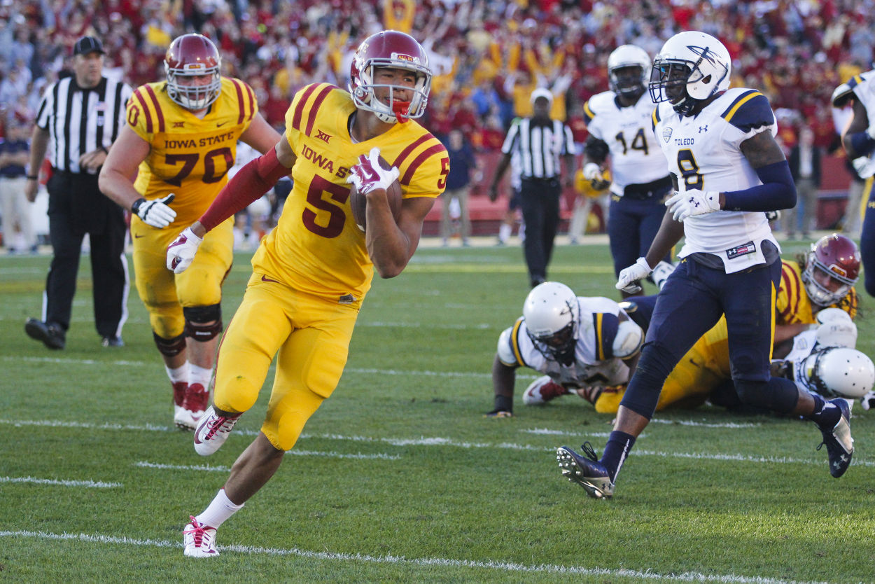 Freshman wide receiver Allen Lazard runs into the end zone for a touchdown during the Homecoming game against Toledo on Oct. 11, 2014 at Jack Trice Stadium. The Cyclones defeated the Rockets 37-30. Photo by: Kelby Wingert/Iowa State Daily.