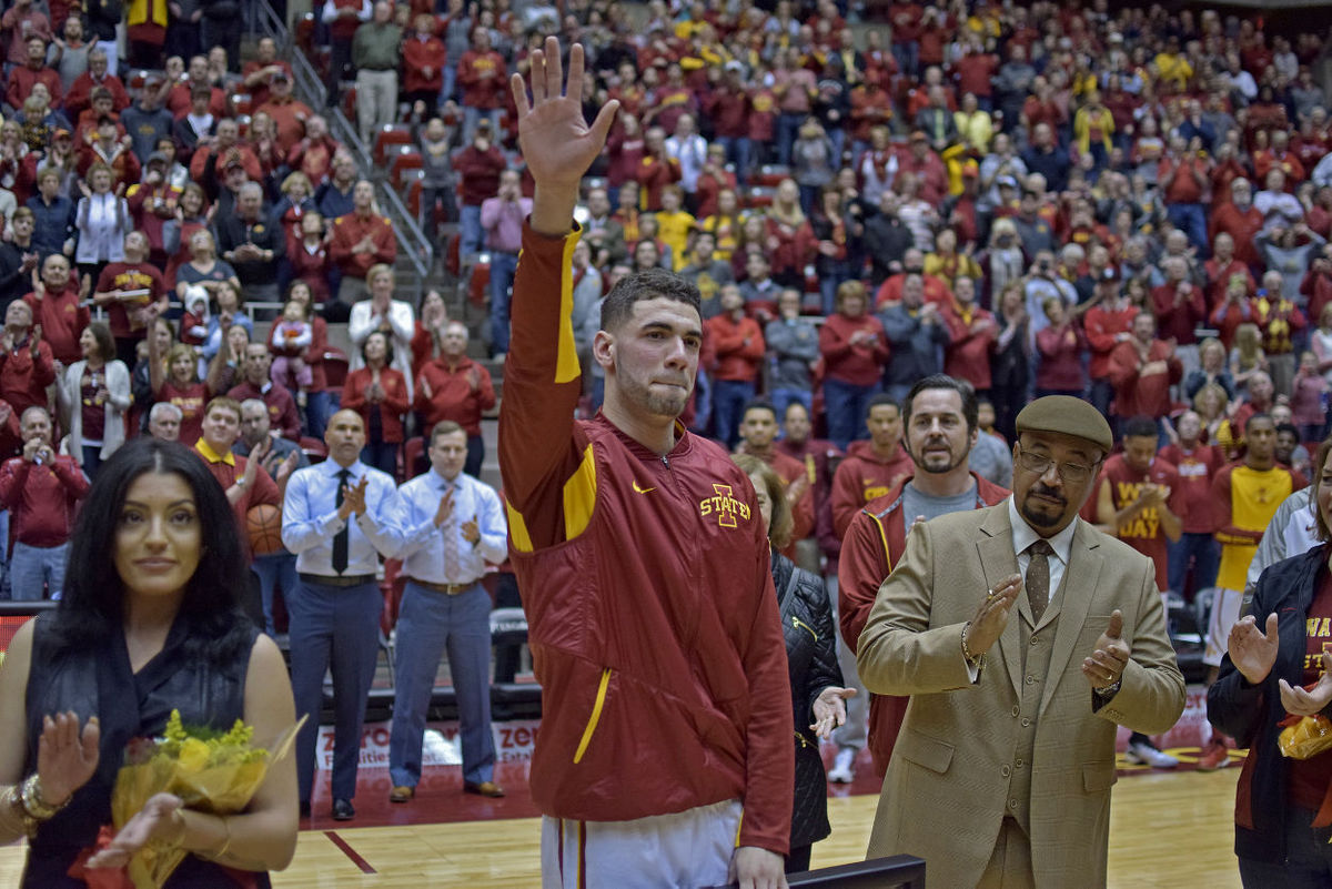 Georges Niang waves to the crowd at Hilton Coliseum one final time. Photo by: Ryan Young/Iowa State Daily