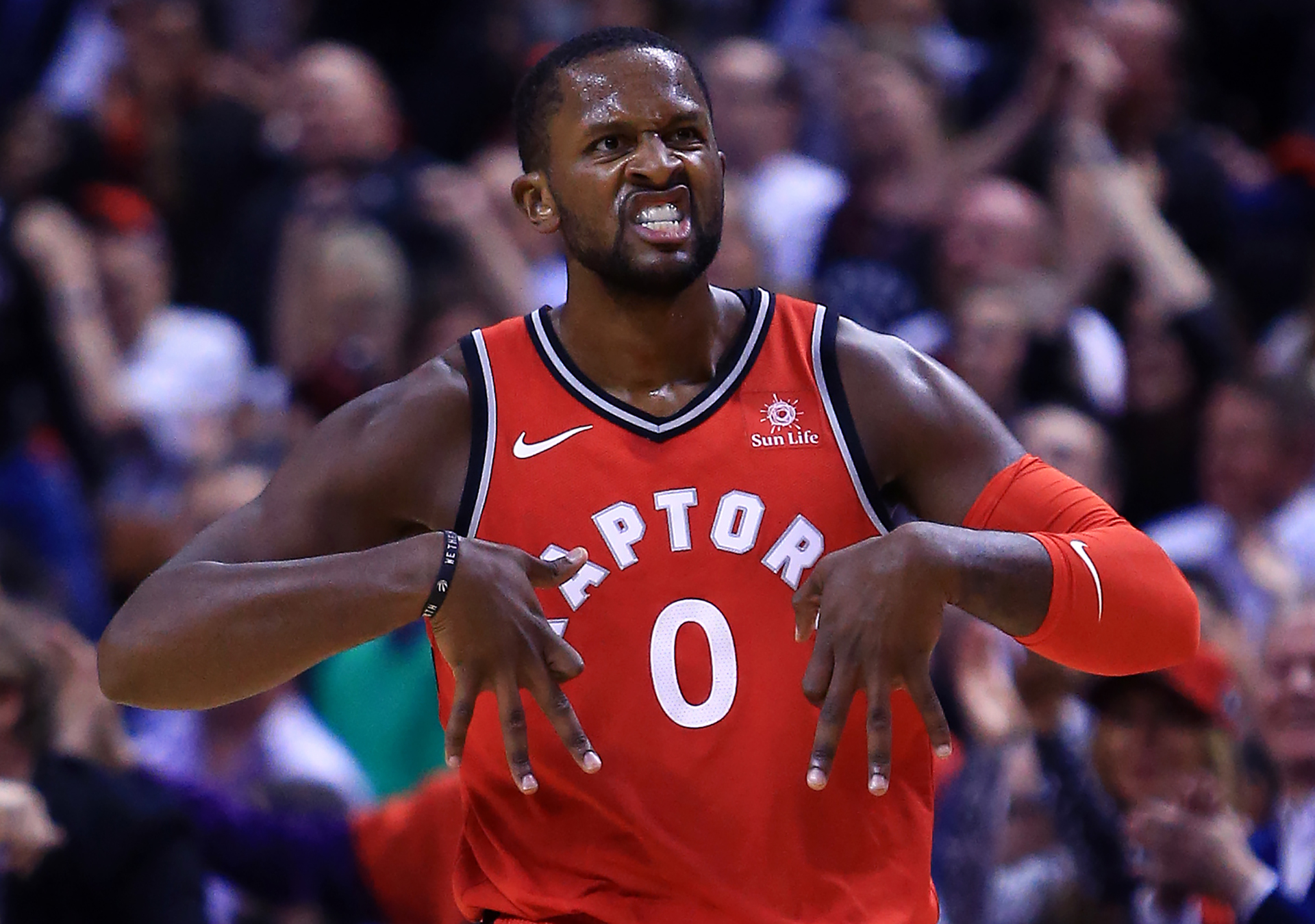 C.J. Miles celebrates celebrates a three-pointer during the first half against the Chicago Bulls at on Oct. 19, 2017 in Toronto, Canada. (Vaughn Ridley/Getty Images)