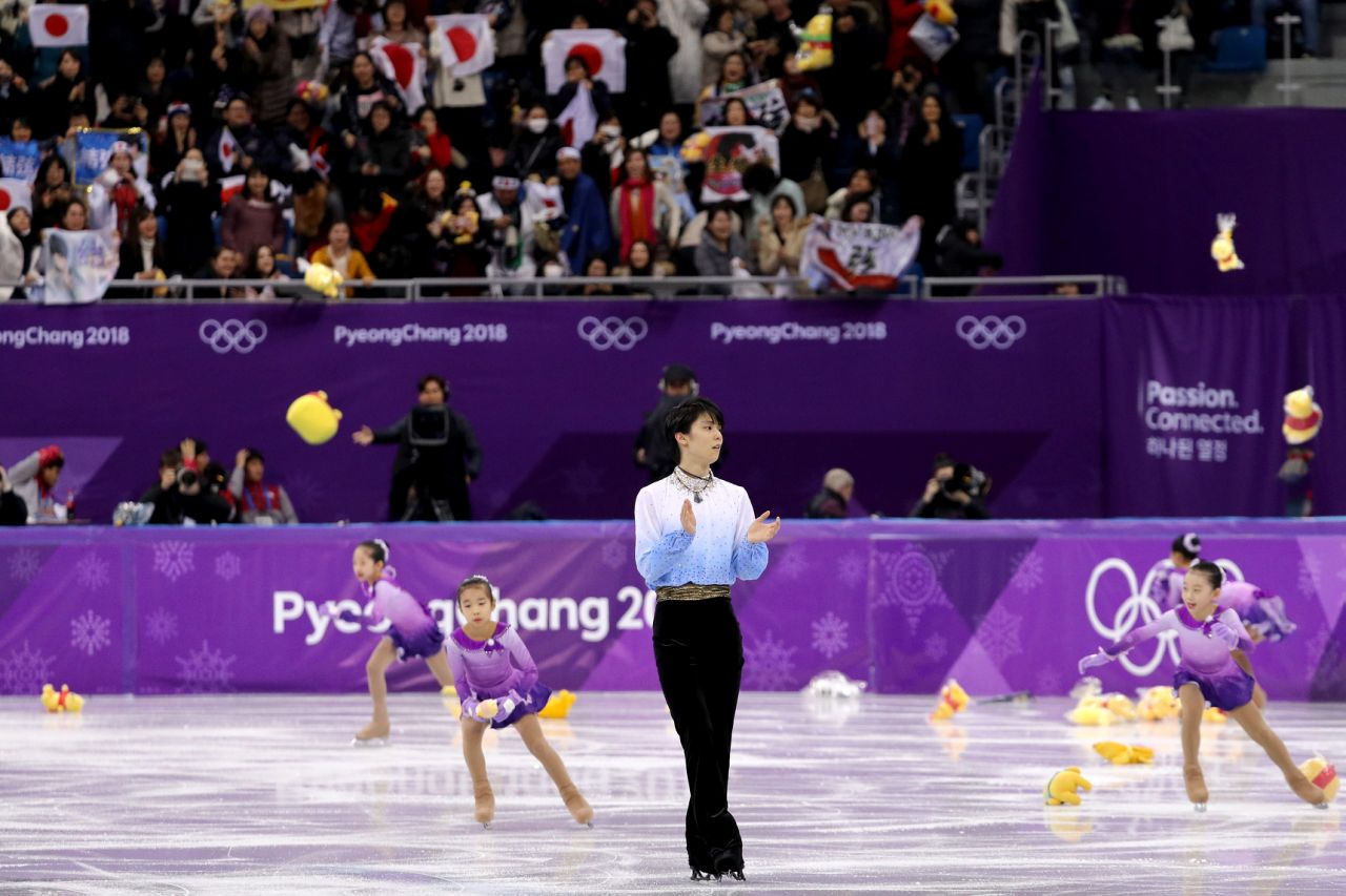 Japanese figure skater Yazuru Hanyu after the Men's Single Skating Short Program at Gangneung Ice Arena on February 16, 2018 in Gangneung, South Korea. (Getty Images)