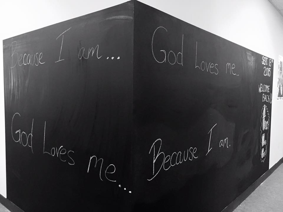 One of the messages written on our chalk wall in the hallway of the education wing.