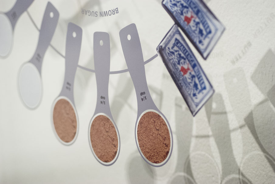 Detail of the butter image and measuring cup graphics.