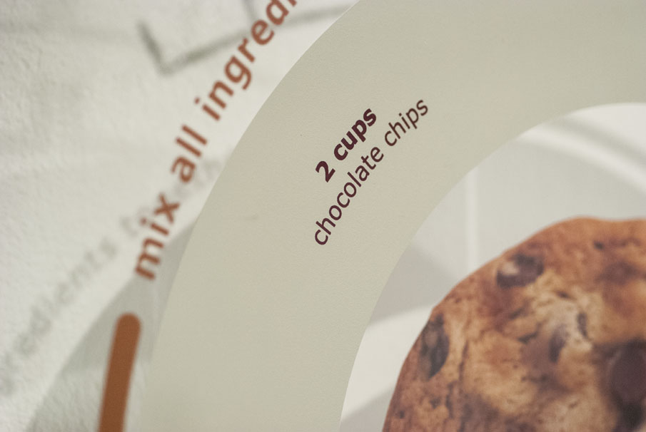 Detail of the instructions and ingredients.