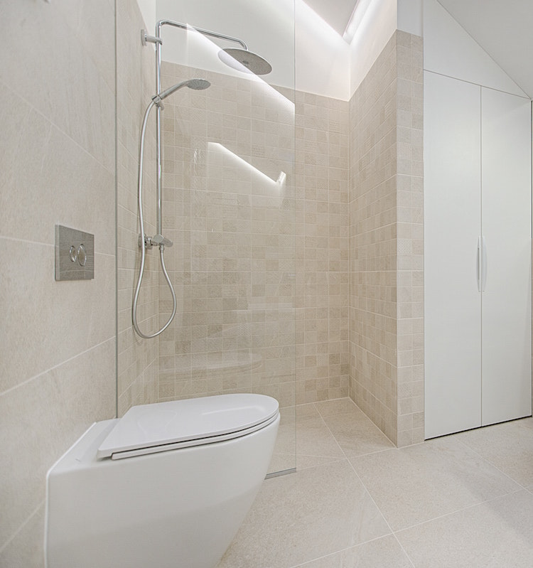 contemporary tile bathroom