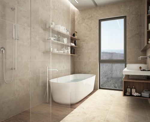 modern limestone bathroom