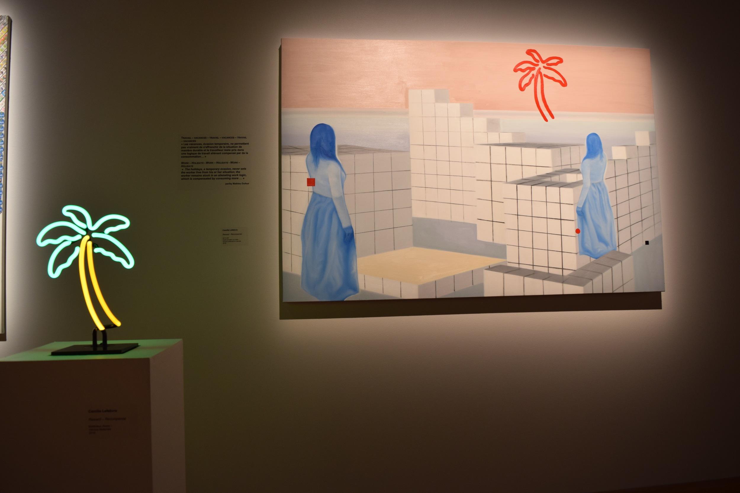 L  'oeuvre de Camille Lefebvre dans le cadre de   Possibilités  . La peinture, accompagnée du néon,illustraient l'économie marxiste en interaction avec un texte de Mathieu Dufour.